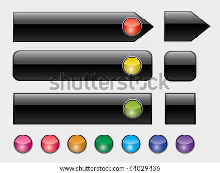 vector illustration of web buttons with colorful lights