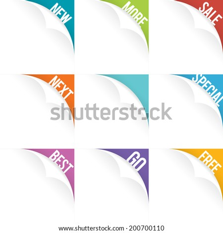 Vector illustration of web page curl set. - stock vector