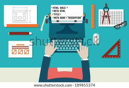 Vector illustration of website development and programming. Workplace of programmer with equipment. Top view - vector illustration  - stock vector