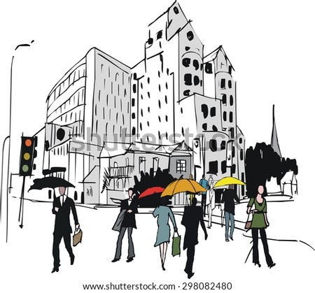 Vector illustration of Wellington city buildings and people in rain, New Zealand.  - stock vector