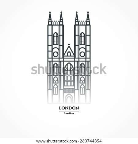 Vector Illustration of Westminster Abbey Icon Outline for Design, Website, Background, Banner. Travel Britain Landmark Element Silhouette Template for Tourism Flayer - stock vector