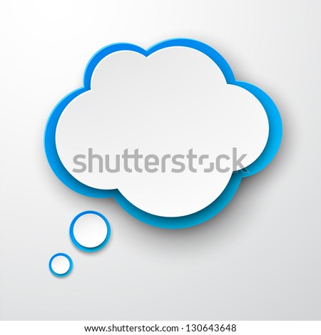 Vector illustration of white and blue paper cloud. Eps10. - stock vector