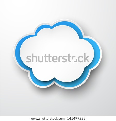 Vector illustration of white and blue paper cloud. Eps10.