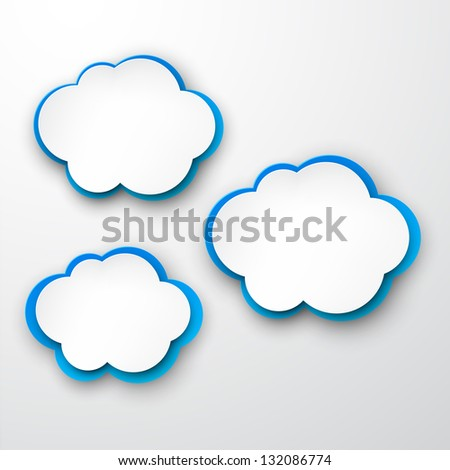 Vector illustration of white and blue paper clouds. Eps10.