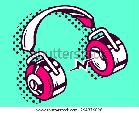 Vector illustration of white and red headphone on green background. Hand draw line art design for web, site, advertising, banner, poster, board and print. - stock vector