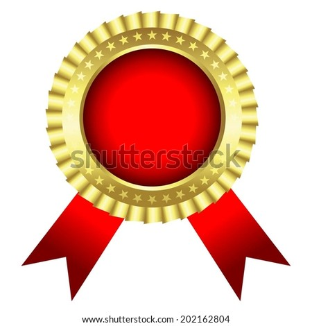 Vector illustration of White background, medal with red ribbon