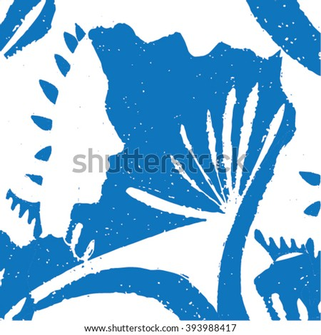 Vector illustration of white & blue hand drawn graphic pattern / background. Face, lines, distorted, native grunge image. Doodle.