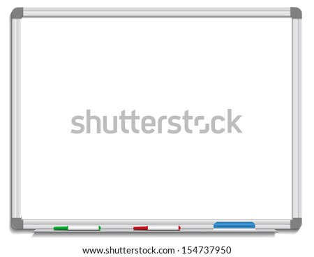 Vector illustration of white board with colored makers and eraser - stock vector