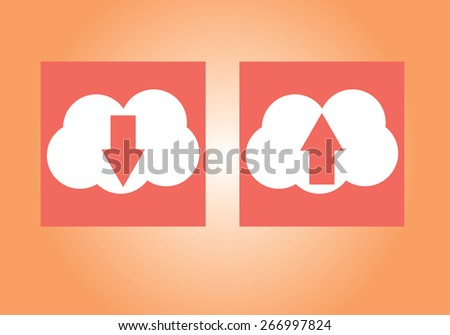 Vector illustration of white cloud icon set with upload download symbol, up and down red arrows on them isolated on orange background wall. Pictogram, button icons for your web site. No transparencies - stock vector