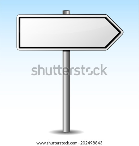 Vector illustration of white directional sign on sky background