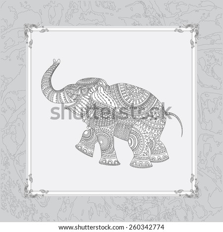 Vector illustration of white elephant silhouette with grey ethnic  ornament on light grey background with decorative frame  - stock vector