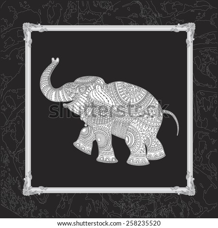 Vector illustration of white elephant silhouette with grey ethnic tribal ornament on black background with decorative carved frame - stock vector