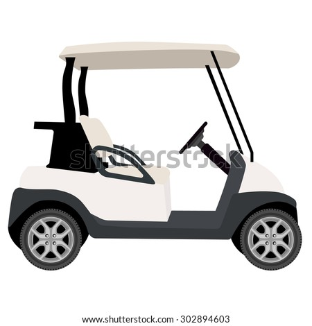 vector illustration of white golf cart golf car