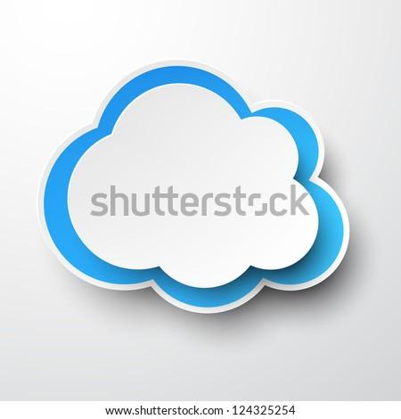 Vector illustration of white paper cloud. Eps10. - stock vector