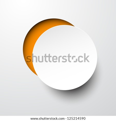 Vector illustration of white paper notched out round bubble. Eps10. - stock vector