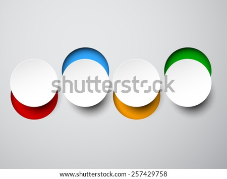 Vector illustration of white paper round bubbles. Infographics design. Eps10.  - stock vector