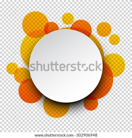 Vector illustration of white paper round speech bubble over orange circles. Eps10. - stock vector
