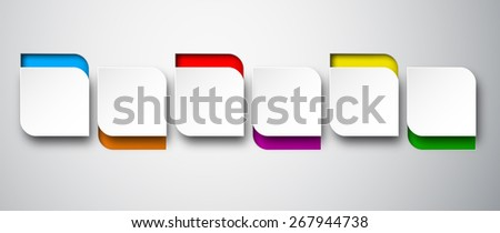 Vector illustration of white paper rounded bubbles. Infographics design. Eps10.  - stock vector
