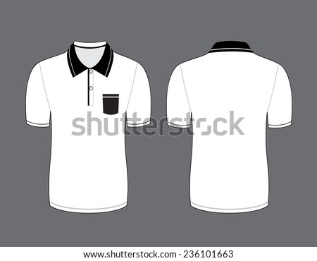 Vector illustration of white polo t-shirt. Front and back views