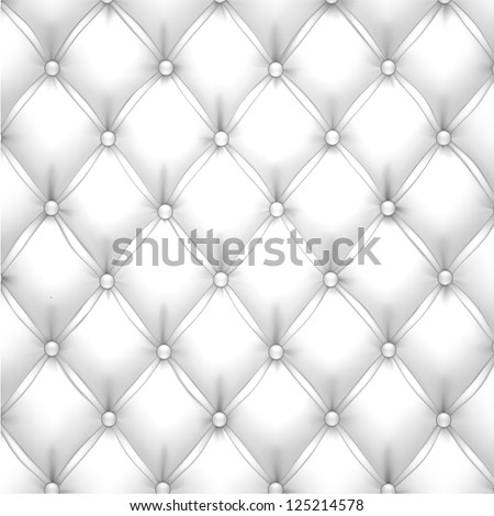 Vector illustration of white realistic upholstery leather pattern background. Eps10. - stock vector