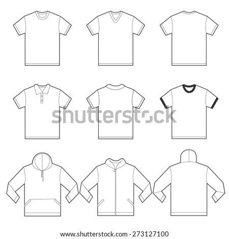 Vector illustration of white shirts template in many variation, front and back design isolated on white - stock vector