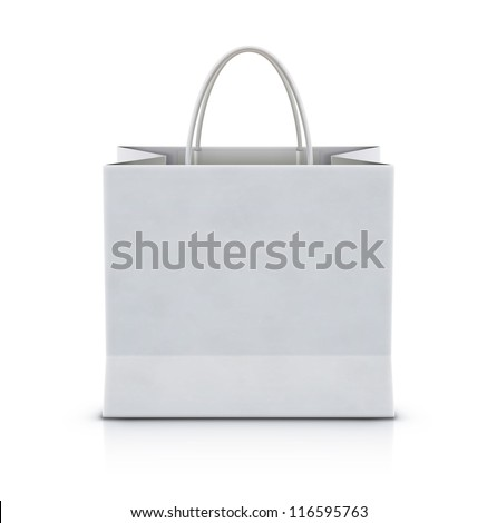 Vector illustration of white shopping paper bag isolated on white background