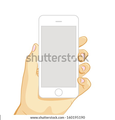 Vector illustration of white smart phone in hand isolated on white background - stock vector