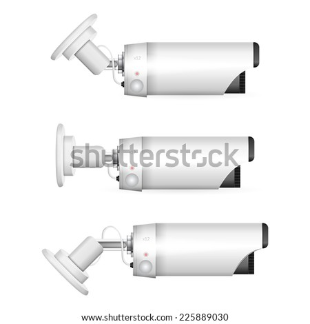 Vector illustration of white surveillance camera. White surveillance camera in three positions a side view. Three isolated vector illustrations on white background. - stock vector