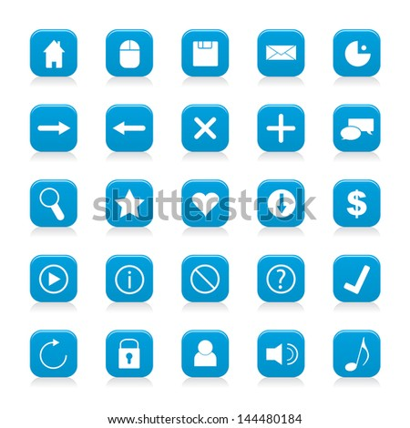 Vector illustration of white web icons in blue buttons.