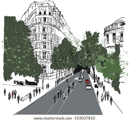 Vector illustration of Whitehall street scene with pedestrians, London - stock vector