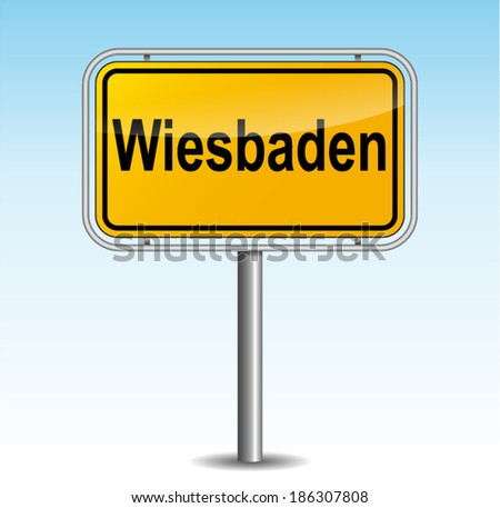 Vector illustration of wiesbaden signpost on sky background - stock vector