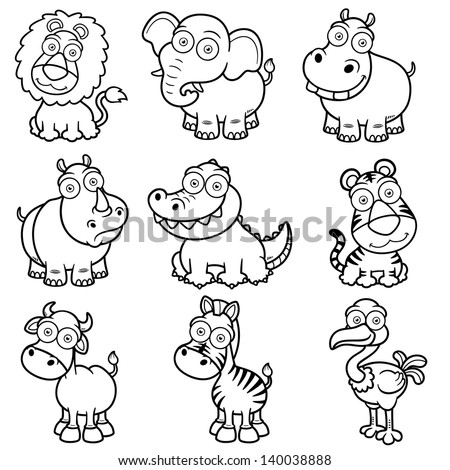 Illustration Of Wild Animals Cartoons Coloring Book Stock Vector