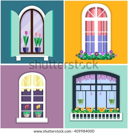 Vector illustration of windows set with plants in flower pots. Details - window set for constructing house. Flat style. Collection of house construction. Urban street design - stock vector