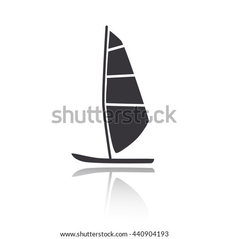 Vector illustration of windsurfing board. Windsurfing icon flat.