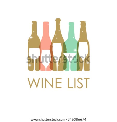 Vector Illustration of wine bottles and glasses in pastel colors. Wine list design template. Christmas or New year wine card. - stock vector