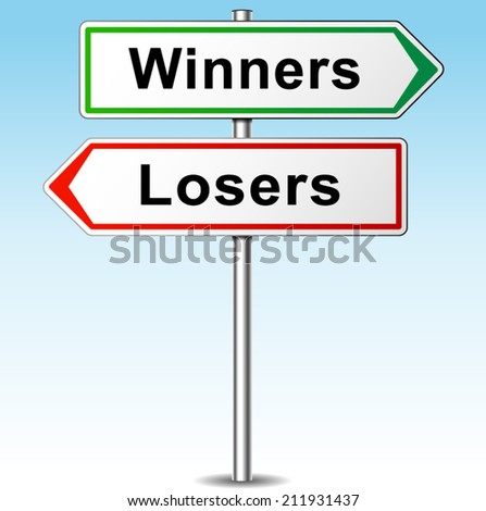 Vector illustration of winners and losers direction sign
