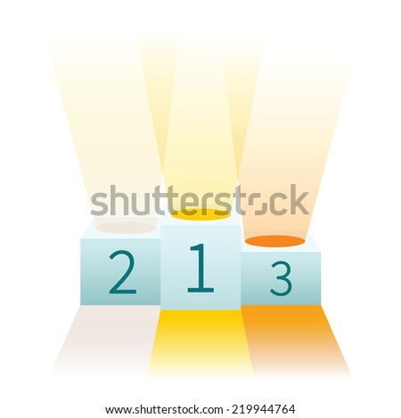 Vector illustration of winners podium for first second and third place - stock vector