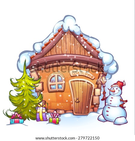 Vector illustration of winter cartoon home with snowman and firtree.