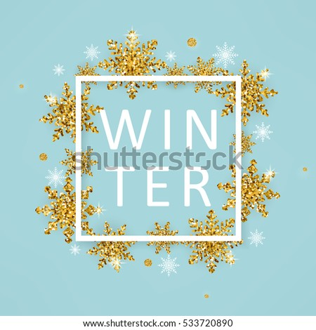 Vector Illustration Of Winter Poster Template With White Square Frame,  Typography Winter Word And Gold  Poster Word Template