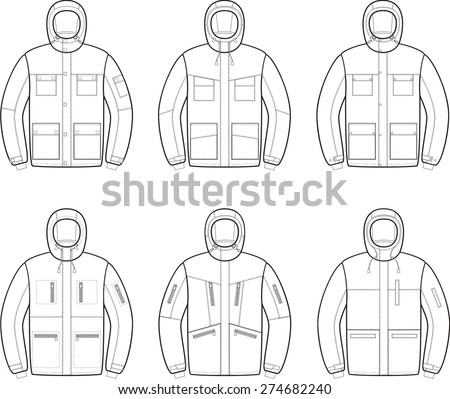 Vector illustration of winter work jackets. Coveralls - stock vector
