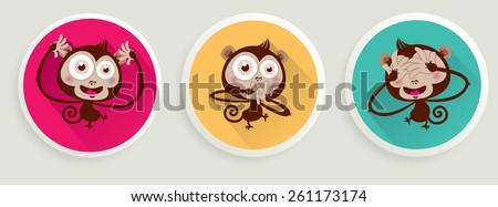 Vector illustration of 3 wise monkeys.  See no Evil, Hear no Evil,  Speak no Evil. - stock vector