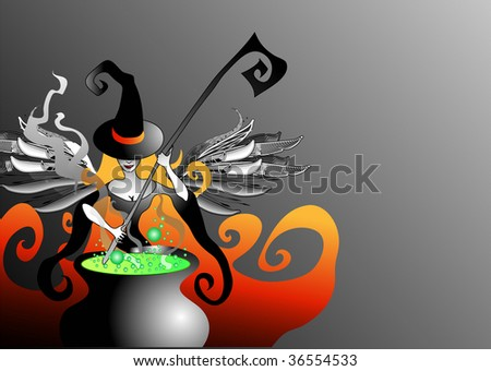 vector illustration of witch - stock vector