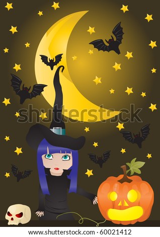 Vector illustration of witch and pumpkin on the background of moon with bats