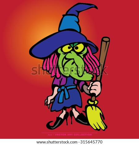 Vector illustration of Witch Cartoon Characters - stock vector