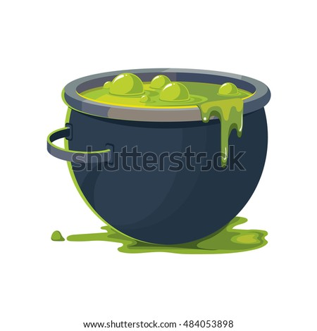 Vector Illustration of Witch Cauldron isolate on white background. Symbol of halloween party.