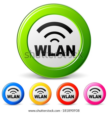 vector illustration of wlan icons on white background