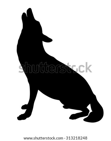 Vector illustration of wolf silhouette - stock vector