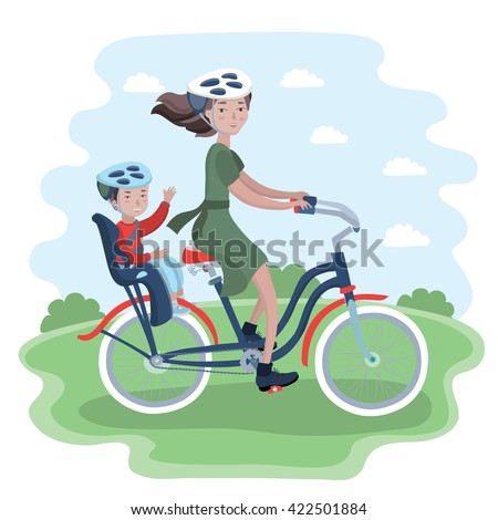 Vector illustration of woman and kid on bicycle with child seat and in bicycle helmet in the park trip - stock vector