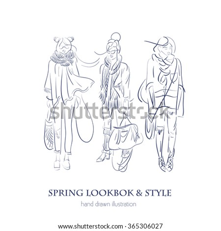 Vector illustration of woman lookbook made in line hand drawn style. Vector template for business card and banner.