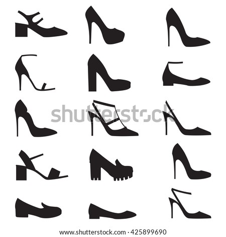 Vector illustration of woman modern shoes on white background. Shoes icons set. Flat design - stock vector